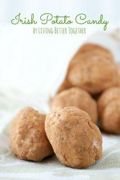 Irish Potato Candy - Living Better Together (Irish Potatoes Bread) Candy Recipes, Holiday Recipes, Dessert Recipes, Yummy Recipes, Milk Recipes, Egg Recipes, Copycat Recipes, Recipes Dinner, Pasta Recipes