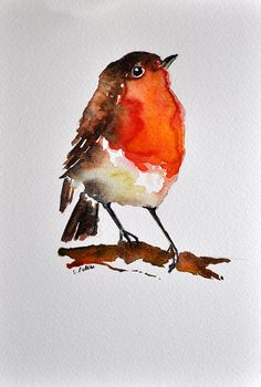 ORIGINAL Watercolor Painting Robin Bird Portrait von ArtCornerShop