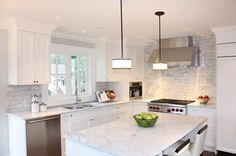 Traditional Kitchen by Sarah Gallop Design Inc. carrara marble subway tile grey and white kitchen Kitchen Redo, Kitchen Tiles, New Kitchen, Kitchen Remodel, Kitchen Layout, Stone Kitchen, Kitchen Renovations, Kitchen Colors, Kitchen Island