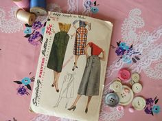 1950s Slim Midi Skirt Pattern - Vintage Simplicity 4409 - Waist 26 With Patch Pockets or Wrap Skirt