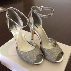 Silver heels Only used once in a indoor new year eve party. Bought from Macy's, size 7 Style & Co Shoes Heels