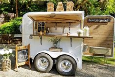 """The Whiskey Chaser for Your Tahoe Wedding Try spicing things up with a """"hosted"""" mobile bar. Please note that the host - the wedding couple, parents, whoever is paying for the wedding – pays for all the drinks…Cheers! Coffee Shop Design, Cafe Design, Horse Box Conversion, Coffee Food Truck, Coffee Trailer, Container Cafe, Portable Bar, Food Truck Design, Rv Camping"""