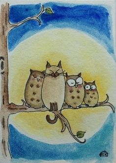 Three owls and a cat.