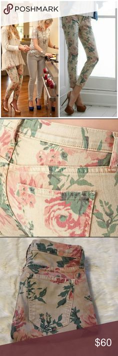 """Current Elliott The Stiletto Haystack Floral Skinny cropped jeans with faded vintage floral print as seen an worn by celebrities. Add a trendy appeal to a pair of stretch jeans with a lean fit. It has a Five-Pocket style,Zip fly with button closure.98%Cotton 2%Elastane/machine wash cold inseam/27.5""""/front rise/8.5/back rise 13""""/leg opening 13.5"""" Current/Elliott Jeans"""