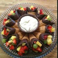 Chocolate Dipped Fruit Sugar Cones Cream Party Ideas