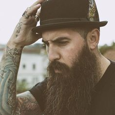 Trig Perez - long full black beard beards bearded man men mens' style hats tattoos tattooed bearding #beardsforever