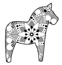 Dala Horse and Sprite Folding Paper Frieze from Sweden ~ 5-1/4\