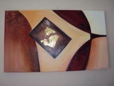 Abstrato com folha de ouro medindo 0,70 x 1,20