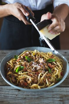 What's more romantic than a spaghetti dinner for two? // Classic spaghetti bolognese with mushrooms is the ideal meal for a cozy night in. Toss with your favorite pasta and top with cheese!