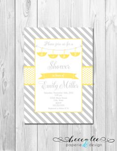 Hanging Umbrellas Baby Shower Invitation Grey By Beccaleepaperie 13 00