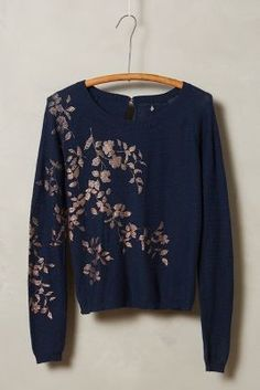 Knitted & Knotted Foil-Printed Pullover  #anthrofave #anthropologie
