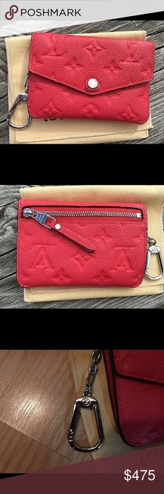 Authentic LV Empritment Key Pouch Poppy Used twice, so practically brand new. This is a limited edition color called poppy, with silver hardware. Very popular and hard to come by color. Comes with dust bag only. All reasonable offers will be considered. Louis Vuitton Bags Wallets