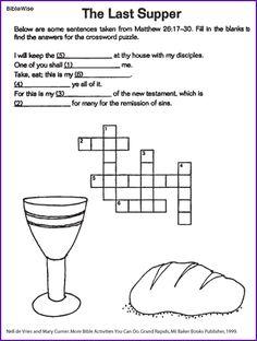 The Last Supper (Jesus Crossword) - Kids Korner - BibleWise