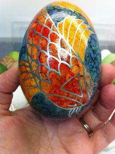 Precision Art Studio Blog: Egg #9- Koi inspired goose egg with alcohol inks