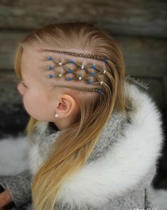 Peinados Elastics and cornrows inspired by 😊 . Baby Girl Hairstyles, Girl Haircuts, Braided Hairstyles, Quick Hairstyles, Viking Hair, Trendy Haircuts, Girls Braids, Toddler Hair, Super Hair