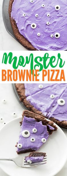 This Monster Brownie Pizza Recipe is the Perfect Holiday Dessert for Halloween! Easy Spooky and Scary Treats for Kids and Adults for Parties or Classrooms!