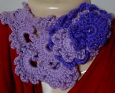 Crocheted lavender Queen Anne's Lace Neckwarmer with glass beads for flair!
