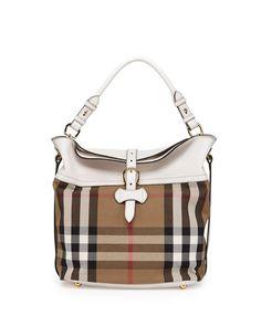 c60116c64379 Burberry Leather   Check Canvas Shoulder Bag