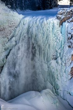Yellowstone Falls in Winter, Up Close and Personal!