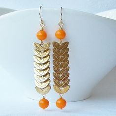 Orange and Gold Dangle Earrings EcoFriendly by PeriniDesigns, $28.00