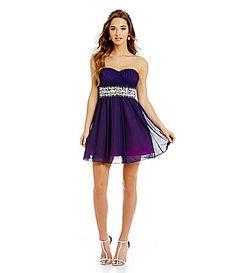 Sequin Hearts Wrap Bodice Waist Trim Party Dress #Dillards