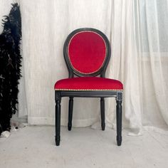 Black Lacquered French Louis XVI Accent Side Chair upholstered in Red Velvet inspired by Louboutin in collaboration with Roxy Sowlaty by Heather Rudd THRONE