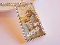 Necklace - And She Smiled - Girl with Bunny Rabbits - Paper Resin and Metal Pendant - With Chain.