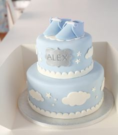 Baby cake /Tarta bautizo Baby Kuchen / Taufkuchen Mis tartas / My muffins (Visited 6 times, 1 visits today) Baby Shower Cakes For Boys, Baby Boy Cakes, Baby Boy Shower, Christening Cake Boy, Baptism Cakes, Gateau Baby Shower, Cute Cakes, Cake Art, Baby Shower Decorations