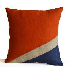 Burlap Pillow Cover -Nautical Pillow -Oceanic Pillow -Orange Blue Pillow -Color Block Pillow -Present -Housewarming -Dorm Decor -All Sizes Nautical Pillow Covers, Blue Pillow Covers, Nautical Pillows, Cushion Covers, Nautical Theme, Navy Blue Pillows, Black Pillows, Decorative Pillow Cases, Decorative Cushions