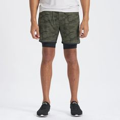 A little throwback style for your athletic endeavors, these new 2-in-1 athletic shorts have a slightly longer compression liner and a soft knit' encased waistband and drawcord. Moisture wicking, supportive and stylish, these shorts will be your best training partner ever. Great for training, yoga and running.   Stockton Shorts   Olive Camo Breathing Tips For Running, Best Running Shorts, Running Costumes, Marathon Training, Athletic Shorts, Patterned Shorts, Joggers, Camo, Yoga