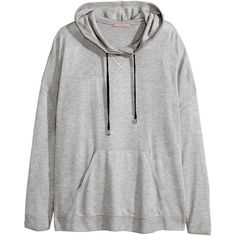 H&M+ Fine-knit hooded top ($12) ❤ liked on Polyvore featuring tops, hoodies, outerwear, h&m, grey, plus size, hooded pullover, gray hoodie, gray hooded sweatshirt and hooded sweatshirt