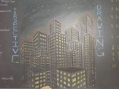 Waldorf ~ 7th grade ~ Perspective Drawing ~ Cityscape ~ chalkboard drawing