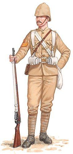 British; 1st Bn, Queen's Royal Regiment (West Surrey), Colour Sergeant, Khaki drill, Tirah, 1897