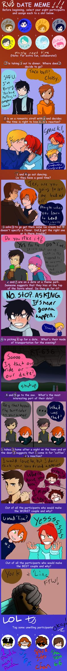 RvB Date Meme by CaptainTimber.deviantart.com on @deviantART    it's a bit odd but very IC