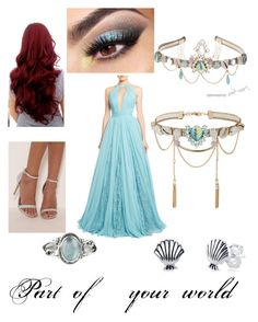 """Ariel"" by erinslays ❤ liked on Polyvore featuring Zuhair Murad, Disney, Miss Selfridge and Rock 'N Rose"