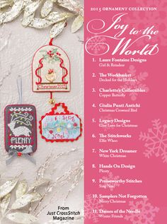 Joy to the World from the Christmas Ornaments 2015 issue of Just CrossStitch Magazine. Order a digital copy here: https://www.anniescatalog.com/detail.html?prod_id=127192