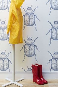 Porter's Paints Collection :: 'Beetle' wallpaper in colourway Chambray Home Wallpaper, Fabric Wallpaper, Paint Wallpaper, Feature Wallpaper, Bedroom Wallpaper, Wallpaper Ideas, Paint Companies, Wall Finishes, Kids Decor