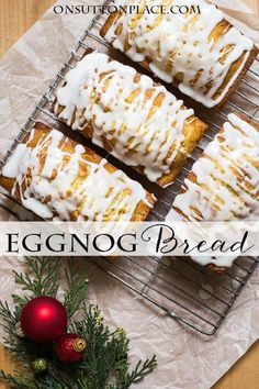 Easy Eggnog Bread with Rum Glaze – On Sutton Place Easy recipe for Eggnog Bread with Sugar Rum Glaze Holiday Desserts, Holiday Baking, Christmas Baking, Holiday Recipes, Christmas Recipes, Christmas Food Gifts, Christmas Kitchen, Holiday Treats, Loaf Recipes