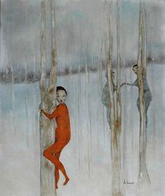 Poster print girls art  trees forest landscape orange by KatHannah, $45.00