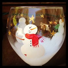 Snowman hand painted wine glass