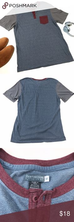 Blue Grey & Maroon Color Block Henley Tee This nice t-shirt is perfect for warm weather or cold weather layering! The main blue color of the tee has a marked texture to add some character as well as a chest pocket. The shirt is in good used condition, with only a small discoloration above the pocket. Please see photos for details.     Send any offer (even lowballs!) and I will accept or counter with my lowest! Earthbound Shirts Tees - Short Sleeve