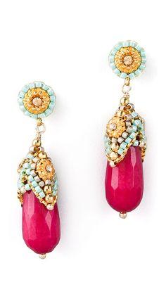 bright byzantine :: pink jade & crystal drop dangles [miguel ases]