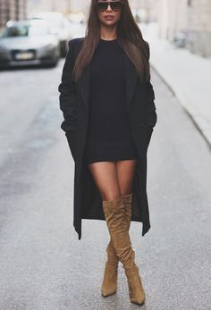 black outfit and camel boots
