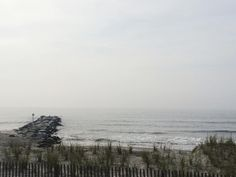 Hazy, but lovely beach morning. We've seen all the Dolphins this week!  || #OCNJcottage