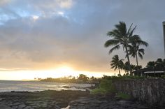 A beautiful sunset from the lava rocks at The Beach House