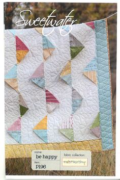 Sweetwater Be Happy Flag Quilt - Modern Quilting Pattern - Charm Pack Friendly - P196 - Uses Noteworthy Fabrics