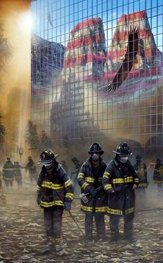 Ervin Molnar's print Reflections of America honors both the heroes who died and the heroes who lived to emerge from the rubble of the Twin Towers on 9/11. The two towers are shown as reflections of th