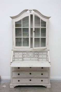 Antique Swedish Gustavian Painted Secretary with Glass Doors, Century 10 Distressed Furniture Painting, Painted Furniture, Contemporary Interior Design, Bathroom Interior Design, French Furniture, Cool Furniture, Raised Panel Doors, Small Cabinet, Cabinet Styles