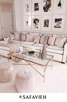 Chanel & Glam Inspired living room makeover - Best My deas Glam Living Room, Living Room Decor Cozy, Glam Room, Home And Living, Living Spaces, Bedroom Decor, Modern Living, Living Room No Sofa, Wall Decor
