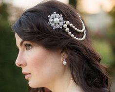 Pearl/Crystal Hair Drapes - 1920s Style Draped Pearl Wedding Headpiece, Alex